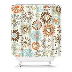 Shower Curtain Flower Brown Orange 71x74 Bathroom Decor Made in the USA - DETAILS: