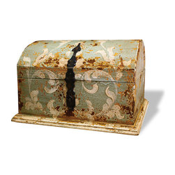 Koenig Collection - Old World Accessory Chest, Celeste Distressed - Accessory Chest, Celeste Distressed with Amaryllis and Scrolls