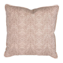 "Pillow - Taupe Petite Zig Zag - An Oomph favorite - subtle shades of rain-washed, camel or charcoal on cream ground, linen fabric. An updated classic that compliments our neutral color palette. Quiet oomph. Dimensions: 22"""" square. Insert: 90/10 feather/down with zipper for ease of cleaning. Made in U.S.A."