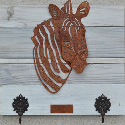 Zebra Head (rusted metal) on white wash wood frame - Made out of steel, mounted on a reclaimed wood.