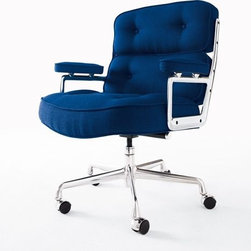 """Herman Miller - Eames Executive Chair - Also known as the Time-Life Chair, this iconic piece was originally created for the executive floors of New York City's Time-Life Building in 1960. How those lucky executives were able to get an Eames chair designed just for them began with the Time-Life Chairman, Henry Luce. In 1959, Charles Eames asked Luce for photographs from the Time-Life archive to be used in a slideshow he was creating for the U.S. pavilion at the Moscow World Exhibition. Luce agreed, as long as Eames promised to return the favor one day. In 1960, Eames made good on that promise, and 50 years later, the world is still enjoying the results of that arrangement. This chair is an authentic, fully licensed product of Herman MillerÆ, Inc. Eames is a licensed trademark of Herman Miller. Made in U.S.A. This chair tilts, swivels and has a height-adjustable seat.Generously sized and comfortable, it has a 4.5""""-thick seat cushion and 3""""-thick back cushions."""