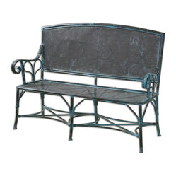 Uttermost - Generosa Forged Iron Bench - In your garden, this will be the go-to place to relax and read or study, and to admire nature. In a large entryway, it can hold bright pillows and a throw. The sturdy, forged iron frame is already distressed so it looks like it has weathered the elements and won.