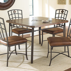 Steve Silver Furniture - Steve Silver Trinity 5 Piece Dining Room Set in Warm Brown - Relax with the Trinity square dining table and forget that hectic day!  The 42 square dining table features clipped corners and the center slate inlay is accented by the beautiful birch veneered top.  The sturdy metal base has a durable powder coat finish that resists scratches and rust.