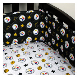 Sports Coverage Inc - NFL Pittsburgh Steelers Crib Bumper Football Baby Bedding - FEATURES: