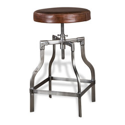 Kathy Kuo Home - Bryce Industrial Loft Nickel and Leather Barstool - Pull up to the bar and enjoy this cool, refreshing Industrial Loft style leather barstool.  Crafted from rich chocolate brown leather and antique nickel finished metal, this piece delivers vintage style and classic good looks.