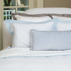 Crane & Canopy - Light Blue Linden Border Sham-Standard - The luxury is in the details, especially when inspired by the classic bedding found in the finest luxury hotels around the world. Woven from luxurious 400-thread count, single ply, 100% cotton with tailored light blue borders, this irresistibly soft and beautiful duvet lends elegance to any room.