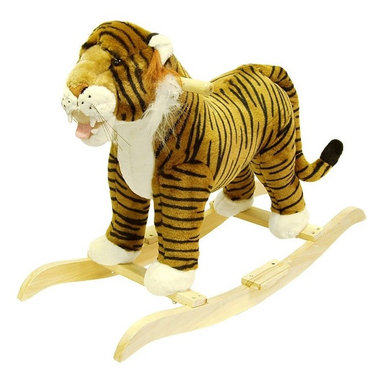 Happy Trails - Plush Tiger Rocking Animal w Hardwood Core - Recommended for ages 2 yrs. old & up. Recommended Weight Limit: 80 lbs.. Soft and plush to the touch. Hand crafted with a hard wood core and stands on sturdy wood rockers. 30.25 in. L x 14.25  in. W x 22 in. H (13 lbs.). Seat Height: 19 in.This lovable, cuddly tiger will be a sure hit with any child. This makes a GRRRRRRRRRReat Gift!