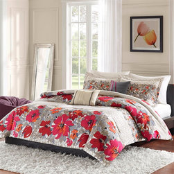 Mizone - Mizone Kendal Comforter And Decorative Pillows Set - The Kendal Comforter and Decorative Pillows set provides a fresh and cheerful look for your bedroom. The Comforter and sham (s) feature a contemporary multi color floral pattern in red, pink, orange, taupe and grey colors mixed with a geometric pattern in neutral colors of ivory and taupe. The oblong pillow features an solid ivory color pleated and accented with grey stripes on the sides. The square pillow features a solid grey color pleated with red accent vertical stripe details. Comforter and sham: 100% polyester microfiber; Filling: 200gsm.