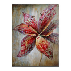 Grace Feyock - Grace Feyock Splash of Spring Canvas Wall Art / Wall Decor X-41243 - The ever so popular lily is depicted here in this hand painted artwork on canvas. The canvas has been stretched and attached to wooden stretching bars. Due to the handcrafted nature of this artwork, each piece may have subtle differences.