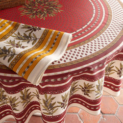 """Horchow - Tamaris Outdoor Tablecloth, 70"""" Round - Embellished with a realistic leaf-and-berry motif, this tablecloth adds warm color and natural inspiration to casual table settings, indoors or out. Made of Teflon®-coated cotton. Wipeable surface. Hand wash. Available in Hermes (featured; red)..."""