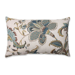 Pillow Perfect - Finders Keepers Blue Rectangular Throw Pillow - - Warm earth tones come together in this elegant blue, taupe, chocolate and beige floral-printed throw pillow. An intricate flower and feather motif adorn this well-crafted pillow. Get decor down to earth with this super-chic and sophisticated pillow, perfect paired with contemporary home style  - Cover Material: 100 percent Cotton  - Fill Material: Plush Filling - 100 percent Polyester Fiber  - Measures: 18.5-Inches H X 11.5-Inches W X 5-Inches D  - Knife Edge and Sewn Seam Closure  - Spot Clean Only  - Made in the USA Pillow Perfect - 556772