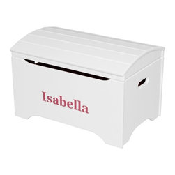 Little Colorado - Little Colorado Solid Wood Toy Storage Chest with Personalization - Soft White F - Shop for Childrens Toy Boxes and Storage from Hayneedle.com! Add a bit of personality and elegance to your child's room with the Little Colorado Solid Wood Toy Storage Chest with Personalization - Soft White Finish. This sturdy hardwood chest features an arched top smooth-moving and locking lid hardware and a soft white finish. Choose from black blue green pink purple red or white text in vinyl letters for their name on the front face. This chest weighs 37 pounds and requires some assembly. Dimensions: 29L x 19W x 18H inches. Little Colorado is a Green CompanyAll finishes are water-based low-VOC made by Sherwin Williams and other American manufacturers. Wood raw materials come from environmentally responsible suppliers. MDF used is manufactured by Plum Creek and is certified green CARB-compliant and low-formaldehyde. All packing insulation is 100% post-consumer recycled. All shipping cartons are either 100% post-consumer recycled or are made of recycled cardboard. About Little ColoradoBegun in 1987 Little Colorado Inc. creates solid wood hand-crafted children's furniture. It's a family-owned business that takes pride in building products that are classic stylish and an excellent value. All Little Colorado products are proudly made in the U.S.A. with lead-free paints and materials. With a look that's very expensive but a price that is not Little Colorado products bring quality and affordability to your little one's room.