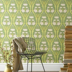 Amy Butler Passion Lily Wallpaper, Field - In this wallpaper, passion lilies burst upwards with fresh blooms. Adding it to a single wall as an accent or covering smaller areas like the back of a bookshelf would give a beautiful fresh pop of color to any room.