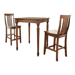 Crosley - 3-Piece Pub Dining Set with Turned Leg and School House Stools in Classic Cherry - Constructed of solid hardwood and wood veneers, the 3 piece Pub / High Dining set is built to last. Whether you are looking for dining for two, or just a great addition to the basement or bar area, this set is sure to add a touch of style to any area of your home.
