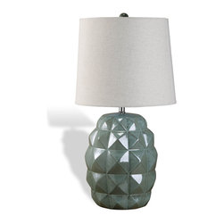 Interlude Home - Renly Ceramic Lamp - This lamp's sculptural quality will appeal to your inner artist. Its airy linen shade contrasts with the textured surface, creating lovely visual tension. Place it on your bedside to bring some artistry to your evening light.