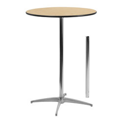 "Flash Furniture - 30"" Round Wood Cocktail Table with 30"" and 42"" Columns - This versatile commercial grade Cocktail Table features a standard table height column and bar height column. The two column options allow you to optimize your resources when setting up different events. Enhance the look of the bar table configuration by adding a table cover and a loosely tied coordinating material. Table breaks down for easy transporting and organized storing. Cocktail tables can be used in banquet halls, conference centers, hotels, bars, clubs, training rooms, break rooms or any other social event."