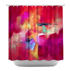 DiaNoche Designs - Shower Curtain Artistic - Pink Abstract - DiaNoche Designs works with artists from around the world to bring unique, artistic products to decorate all aspects of your home.  Our designer Shower Curtains will be the talk of every guest to visit your bathroom!  Our Shower Curtains have Sewn reinforced holes for curtain rings, Shower Curtain Rings Not Included.  Dye Sublimation printing adheres the ink to the material for long life and durability. Machine Wash upon arrival for maximum softness on cold and dry low.  Printed in USA.