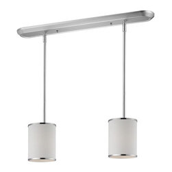 Two Light Chrome White Shade Drum Shade Island Light - Elegant and contemporary best describe this beautiful two light fixture. Finished in chrome and paired with white shades, this fixture would be equally at home in the game room, or anywhere else in the house needing a touch of timeless charm. Adjustable rods are included to ensure the perfect hanging height.