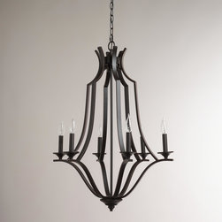 World Market - Large Iron Chandelier - Give your décor the romantic ambiance you've been searching for with our sleek Large Iron Chandelier. Its black finish gives it incredibly versatile, timeless appeal while hinged arms let you create just the look you want. Perfectly unique, chic and affordable, it's a gorgeous way to add light to the dining room, bedroom or entryway.