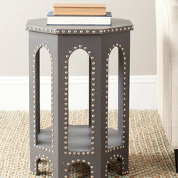 Safavieh - Safavieh Nara Grey Accent Table - Inspired by the timeless,romantic feeling of gothic arches,the Nara side stool offers a contemporary spin on classic style. Covered in grey faux leather its six sides blend geometric form with a fresh,solid palette.