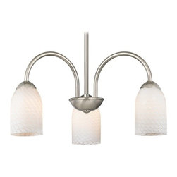 Design Classics Lighting - Chandelier with White Art Glass in Satin Nickel Finish - 592-09 GL1020D - Transitional satin nickel 3-light chandelier light with white scallop dome art glass shades. Takes (3) 100-watt incandescent A19 bulb(s). Bulb(s) sold separately. UL listed. Dry location rated.