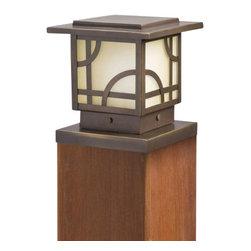 Kichler - Kichler 15474OZ Larkin Estate Post Low Voltage Deck & Patio Light - Classic prairie styling in a rich dark bronze finish with warm umber glass.