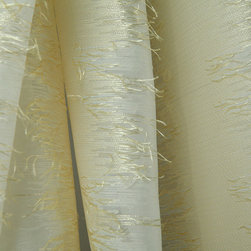 Amarillo Drapery Fabric in Perla - Amarillo discount designer drapery fabric in Perla white. A polyester wide width sheer with unique abstract vertical stripes embellished with soft textured yarns.