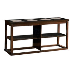 Steve Silver - Steve Silver Alberto 55x19 Sofa Table in Rich Cherry - Natural ceramic tiles and a dark cherry finish highlight this modern occasional set. Create a new look in your living room with the Alberto sofa table. What's included: Sofa Table (1).