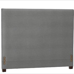 "Raleigh Square Headboard, King, Washed Linen/Cotton Metal Gray - Simple lines and softly rounded corners distinguish the profile of our Raleigh Square Bed & Headboard, crafted by our own master upholsterers in the heart of North Carolina. Crafted with a kiln-dried hardwood frame. Headboard, foot rail and side rails are thickly padded and tightly upholstered with your choice of fabric. Exposed block feet have a hand-applied espresso finish Headboard also available separately. The headboard-only option is guaranteed to fit with our PB metal bedframe using the headboard hardware. This item can also be customized with your choice of over {{link path='pages/popups/fab_leather_popup.html' class='popup' width='720' height='800'}}80 custom fabrics and colors{{/link}}. For details and pricing on custom fabrics, please call us at 1.800.840.3658 or click Live Help. Crafted in the USA. Full: 57.5"" wide x 83.5"" long x 53.5"" high Queen: 64.5"" wide x 88.5"" long x 53.5"" high King: 80.5"" wide x 88.5"" long x 53.5"" high Cal. King: 74.5"" wide x 92.5"" long x 53.5"" high Full: 57.5"" wide x 53.5"" high x 4.5"" deep Queen: 64.5"" wide x 53.5"" high x 4.5"" deep King: 80.5"" wide x 53.5"" high x 4.5"" deep Cal. King: 74.5"" wide x 53.5"" high x 4.5"" deep"