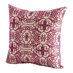 Cyan Design - Cyan Design St. Lucia Pillow X-82560 - From the St. Lucia Collection, this Cyan Design pillow captivates your eye with its intricate traditional pattern. Filigree styling has been paired with intricate loops, curls and other decorative elements. This decorative pillow features a rich velvety purple set against a light off-white backdrop.