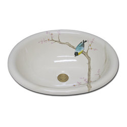"""Bird in Brown Branches - Z-48-500 Bird in Brown Branches is the design seen here on Marzi's """"Z"""" oval self riiming sink. Please visit our website to see many more ideas at www.marzisinks.com"""