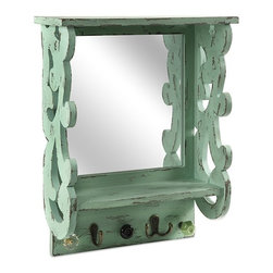 """IMAX - Kristi Mirror - In a fresh mint finish, the Kristi mirror features a scrollwork design and several hooks. Can be used to hang jewelry, scarves, keys and other small items to k p them in an easy to find, organized location! Item Dimensions: (16.25""""h x 13.5""""w x 4.75"""")"""