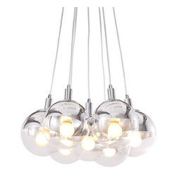 ZUO PURE - Time Ceiling Lamp Chrome - Half chrome, half glass, the Time ceiling lamp is the perfect blend of the two. The lamp comes with seven 40W bulbs and is UL approved.