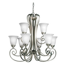 BUILDER - BUILDER Traditional Chandelier X-IN8281 - Scrolling arms and two tiers of lights add to the classic appeal of this Kichler Lighting chandelier. The lights are held within beautiful inverted and white-toned distressed etched glass shades that help create a clean but ample illumination. For added appeal, a modern Brushed Nickel finish has been used to compliment the design.