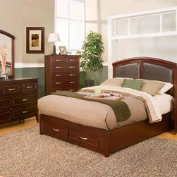Alpine Furniture - Atherton 4-Pc Storage Bedroom Set (Queen) - Choose Size: QueenIncludes bed, nightstand, mirror and chest. Dresser not included. Faux leather headboard. Nightstand with two drawers. Chest with seven drawers. 1 in. mirror frame thickness. Six months warranty. Made from select solids and veneer. Merlot finish. Made in Indonesia. Full bed: 79 in. L x 56.5 in. W x 56 in. H. Queen bed: 84 in. L x 63 in. W x 56 in. H. California king bed: 89.25 in. L x 75.5 in. W x 56 in. H. Eastern king bed: 84 in. L x 79 in. W x 56 in. H. Nightstand: 26 in. W x 18 in. D x 28 in. H. Chest: 36 in. W x 17 in. D x 50 in. H. Mirror: 45 in. W x 40 in. H