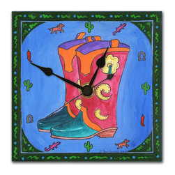 Cowboy Boots Wall Clock - The Cowboy Boots Clock is hand made in our studio, from a print of an original painting done in acrylics. The print is dry mounted onto black foam board and heat-sealed with a protective laminate. It looks just like tile but is so light it can be hung on a pushpin. Every one of our clocks has a hanger on the back and comes in a gift box. The quartz movement runs on a single AA battery.