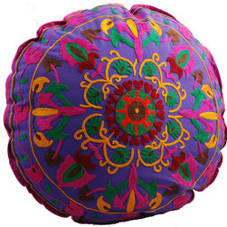 Purple Medallion Round Floor Pillow - Keeping you in stitches: These beautifully hand-embroidered floor pillows are so colorful and fun they're guaranteed to inspire smiles. Add to that an inviting softness, and you may find yourself feeling very happy indeed.