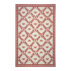 "Safavieh - Chelsea Brown/Pink Area Rug HK55C - 5'3"" x 8'3"" - 100% pure virgin wool pile, hand-hooked to a durable cotton backing. American Country and turn-of-the-century European designs. This collection is handmade in China exclusively for Safavieh."