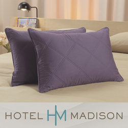 Hotel Madison - Hotel Madison 300 Thread Count Decorative Feather Pillows (Set of 2) - Enjoy hotel suite styling for our home with our decorative pillows from Hotel Madison. These pillows feature a 300 thread count, diamond quilted zip cover along with white duck feather pillow inserts.