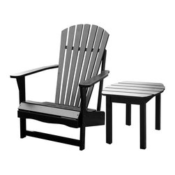 International Concepts - 2 Pc Adirondack Chair & Table Set - Includes Adirondack chair & side table. Assembly required. Made of solid wood. Table: 18.5 in. W x 18.5 in. D x 17.13 in. H (10 lbs.). Chair: 28.25 in. W x 34 in. D x 37.5 in. H (21.8 lbs.), Seat height: 13.7 in.