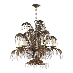 """Largo 6 Light Antique Brass Palm Frond Crystal Chandelier - This deco chandelier looks like it came straight from the legendary Coconut Grove and El Morocco nightclubs of the 30s. With an abundance of palm fronds, generous helpings of faceted crystals, and wax effect """"candles"""" this decadent chandelier is definitely sophisticated and unashamedly glamorous."""