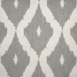 Graham & Brown - Kellys Ikat Wallpaper - A contemporary take on the Ikat design trend in soft grey and white is inspired by Kelly��_�s love of Asian design culture and traditional fabric designs. This colourway is a great choice as the grey adds warmth and the white lifts the brightness levels, a geometric wallpaper design that co ordinates with the Linen Texture semi plain and features shimmering highlights mixed with a matte fabric effect Ikat pattern that would add a real impact to your home or even workspace.