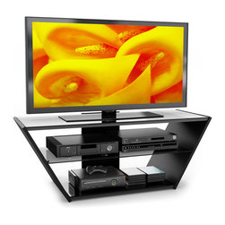 Sonax - Sonax Venice 54-inch Midnight Black Glass TV Stand - Keep your gaming consoles and other electronics neat and organized with this midnight black glass TV stand. The wooden stand has two shelves made of tempered glass, and it is wide enough to hold flat-screen televisions as large as 60 inches.
