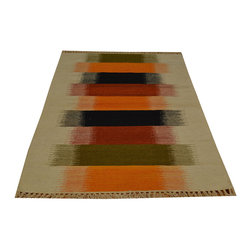 Striped Flat Weave 100% Wool 3'x5' Durie Kilim Hand Woven Oriental Rug SH15798 - Soumaks & Kilims are prominent Flat Woven Rugs.  Flat Woven Rugs are made by weaving wool onto a foundation of cotton warps on the loom.  The unique trait about these thin rugs is that they're reversible.  Pillows and Blankets can be made from Soumas & Kilims.
