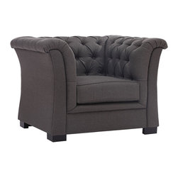 """Zuo - Zuo Nob Hill Charcoal Gray Armchair - Classic Chesterfield style charcoal gray armchair. Solid wood body. Soft linen fabric. Evokes the grand tradition of the gentlemen's club. A chic addition to your home from Zuo Modern. 41 1/2"""" wide. 35"""" deep. 31"""" high. Seat is 21 1/4"""" wide and 23 3/4"""" deep. Seat is 18"""" high. Arms are 31"""" high. Some assembly required.  Classic Chesterfield style charcoal gray armchair.  Solid wood body.  Soft linen fabric.  Evokes the grand tradition of the gentlemen's club.  A chic addition to your home from Zuo Modern.  41 1/2"""" wide.  35"""" deep.  31"""" high.  Seat is 21 1/4"""" wide and 23 3/4"""" deep.  Seat is 18"""" high.  Arms are 31"""" high.  Some assembly required."""