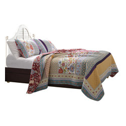 Greenland Home Fashions - Geneva Quilt Set, King - King Quilt comes with 2 King sized shams.