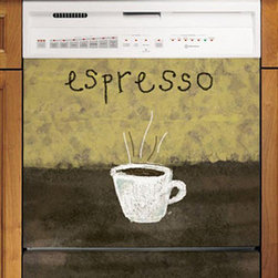 Appliance Art - Appliance Art's Espresso Art 2 Dishwasher Cover - Cozy dishwasher covers like this one will make you and your guests feel relaxed and comfy. The cafe-themed design will bring a smile to your lips as you sip your coffee and munch on snacks. Easily install it for an instant cafe ambiance in your kitchen.