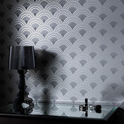Graham & Brown - Ennis Wallpaper - A revitalised version of one of our earliest Superfresco wallpapers, over 30 years after the first launch Ennis has been redesigned with metallic and texture to give this art deco wallpaper design a new lease of life. This wallpaper in charcoal would make a great feature wallpaper design or look great on all four walls to create a dramatic impression in any room.