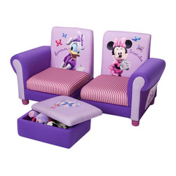 Adarn Inc - Low Base Minnie Mouse Upholstered Girls Children 3 Piece Set Arm Chairs Toy Box - This newly designed sassy Minnie Mouse Upholstered 3 Piece Set is the perfect big girl chair for your adorable Mouseketeer. Featuring a wonderful Minnie Mouse design, this joyful chair provides the perfect spot for your little one's much deserved beauty rest and relaxation. The upholstered chair is built with a sturdy frame for durability making it the perfect chair for reading and relaxing. Meets all JPMA safety standards.