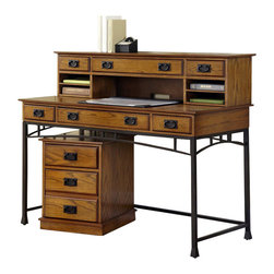 "Home Styles - Home Styles Modern Craftsman Executive Desk and Mobile File Set - Home Styles - Office Sets - 50501521 - Reminiscent of the American Craftsman Era with understated style and simplicity the Modern Craftsman Executive Desk Hutch and Mobile File by Home Styles marries a traditional Distressed Oak finish on Poplar Solids with Oak Veneers and new age brown metal accents. The Modern Craftsman Executive Desk is equipped three drawers one multi-function drop-down front center drawer with cable access; it can function as a keyboard tray or a large storage drawer and two side storage drawers. Drawers are side mounted with easy-glide metal drawer guides. The hutch provides and abundance of storage with one large middle drawer with two side storage drawers and double pigeon holed slotted storage large enough to accommodate 8 __ x 11 sheet of paper. All drawers are side mounted with easy-glide metal drawer guides. The only assembly required is attaching legs and stretchers. Size 54w 24d 42h. The Modern Crafts Mobile File Cart is equipped with one storage drawer and one file drawer positioned to accept letter or legal files. Hutch drawers have side mounted wood guides for support. The File drawer is fully extending to have complete access to your files. Other features include hidden recessed casters and no assembly required. Completely finished on all four sides. Size 17.75w 20.50d 23h. Work Space is approximately 1300 Square Inches. Distressed Oak and Deep Brown FinishMade from Poplar Solids and Oak VeneersSpecifications:Executive Desk dimensions: 54""W x 24""D x 42""HFiling cart dimensions: 17.75_��W x 20.50_��D x 23_��H"